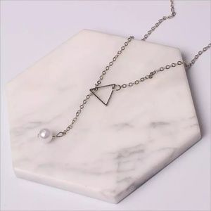 Jewelry - Silver Triangle Pearl Long Chain Necklace